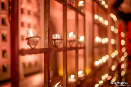 candle wall in wedding decor